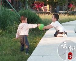 帮同龄小朋友捡皮球