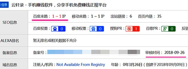 新网站首次在爱站网查到有百度来路IP的时间(本站用了100天)
